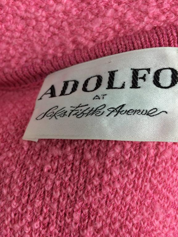 Vintage Adolfo pink & black ribbon trim boucle jacket 1970s For Sale 5