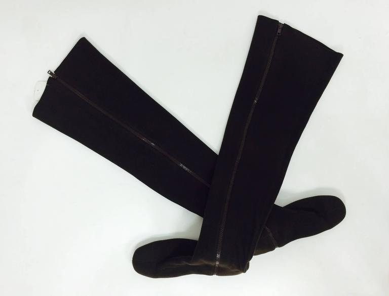 Vintage Andrea Pfister thigh high brown neoprene, side zipper boots late 1970s-1980s...Dark chocolate brown textured insulated fabric (feels like it has neoprene) & has a bit of stretch...The thigh high boots close at the side with a heavy duty