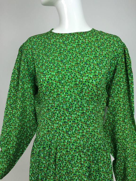 Vintage Valentino Green Silk Crepe Confetti Print Bat Wing