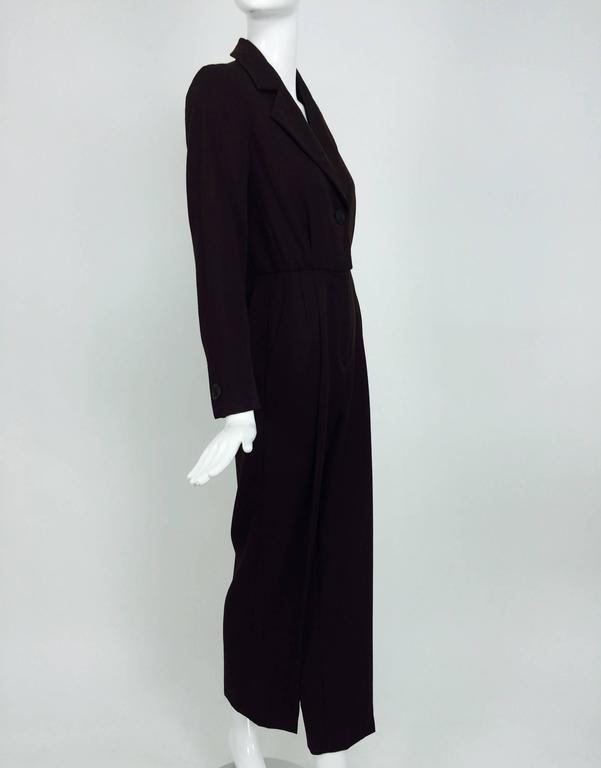Black Vintage Yves St Laurent YSL brown wool tuxedo jumpsuit 1970s For Sale