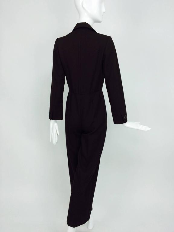 Women's Vintage Yves St Laurent YSL brown wool tuxedo jumpsuit 1970s For Sale