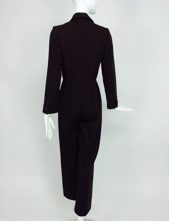 Vintage Yves St Laurent YSL brown wool tuxedo jumpsuit 1970s For Sale 1