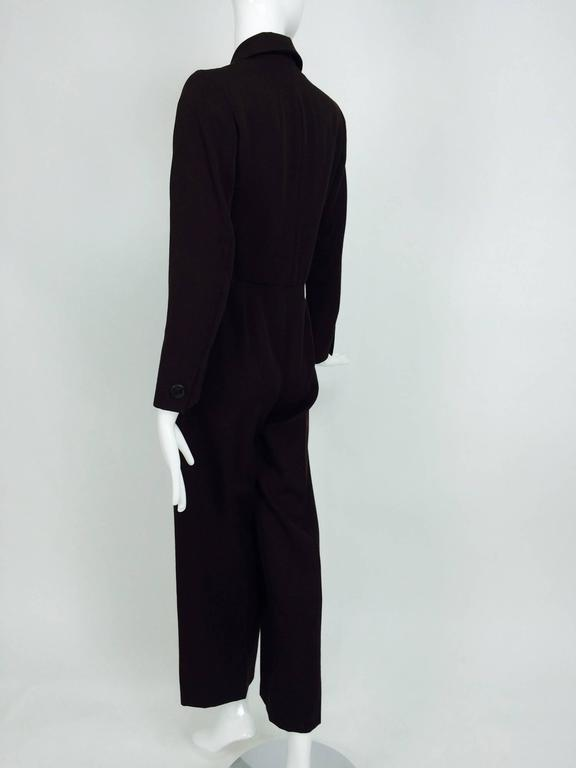 Vintage Yves St Laurent YSL brown wool tuxedo jumpsuit 1970s For Sale 2