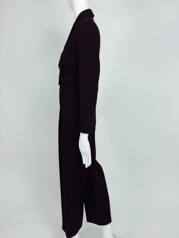 Vintage Yves St Laurent YSL brown wool tuxedo jumpsuit 1970s For Sale 3