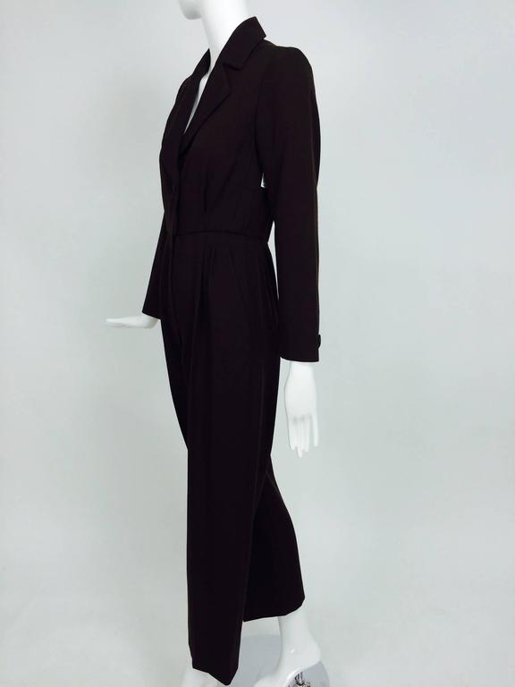 Vintage Yves St Laurent YSL brown wool tuxedo jumpsuit 1970s For Sale 4