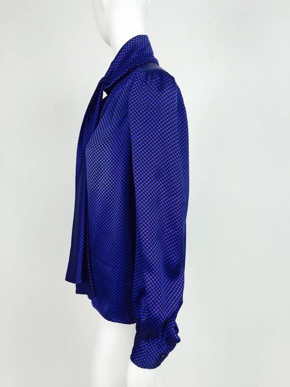 Vintage Yves St Laurent black & blue silk check bow tie blouse 1970s 6