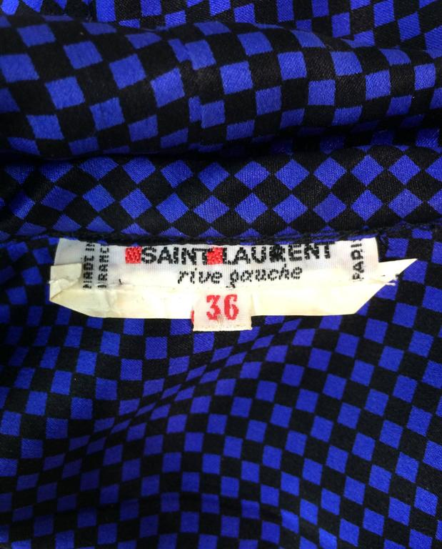 Vintage Yves St Laurent black & blue silk check bow tie blouse 1970s 8