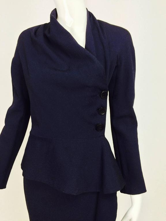 Vintage Christian Dior navy blue fitted suit with scarf side 1990s 2