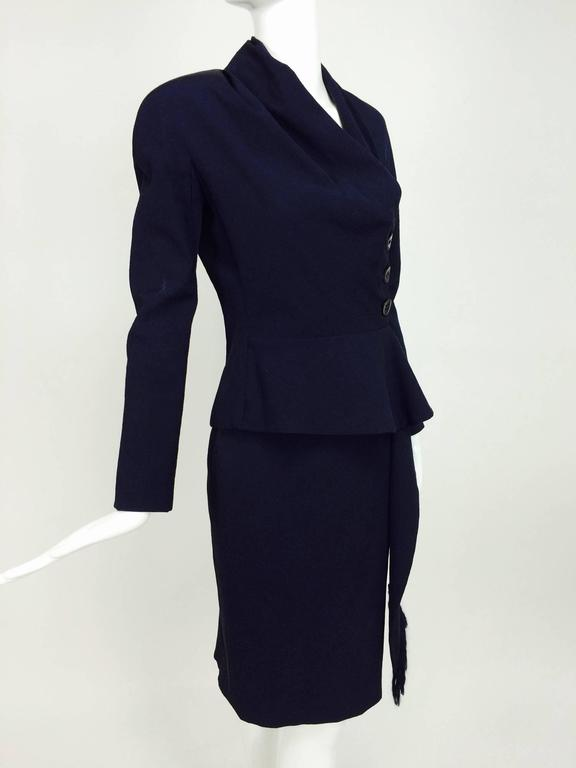 Vintage Christian Dior navy blue fitted suit with scarf side 1990s 3