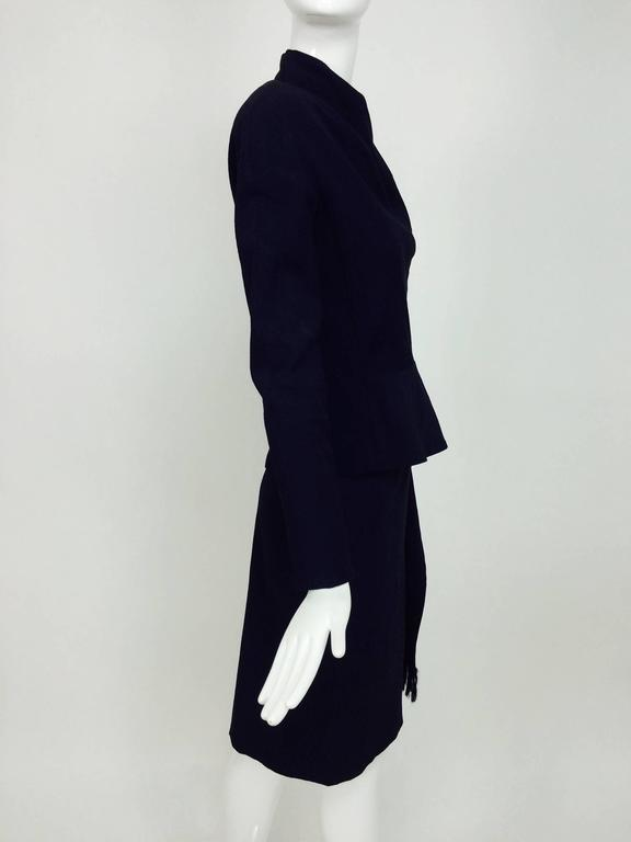 Vintage Christian Dior navy blue fitted suit with scarf side 1990s 4