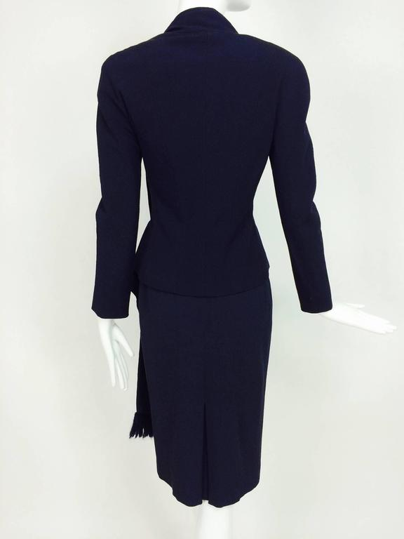 Vintage Christian Dior navy blue fitted suit with scarf side 1990s 5