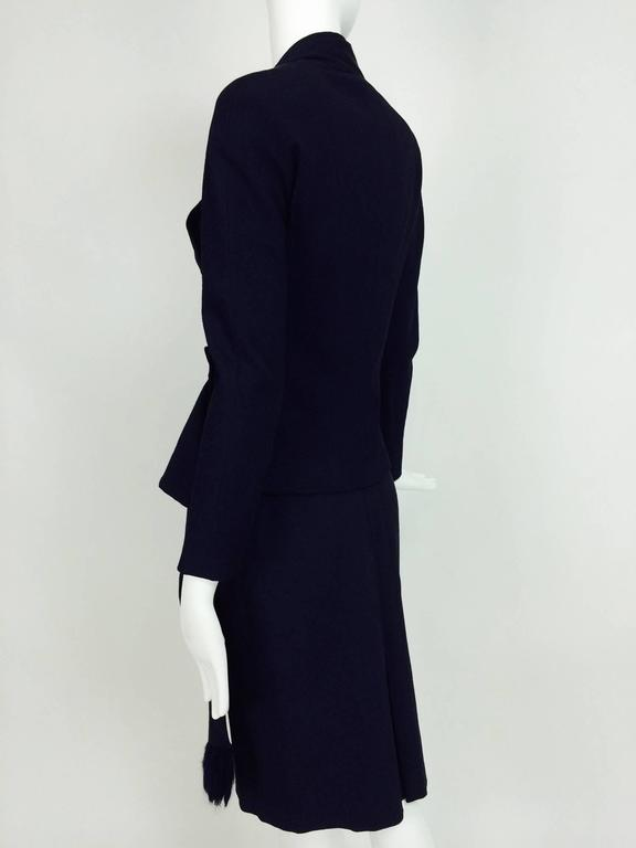 Vintage Christian Dior navy blue fitted suit with scarf side 1990s 6