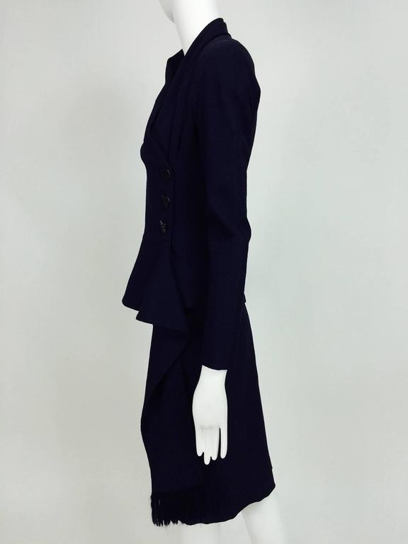 Vintage Christian Dior navy blue fitted suit with scarf side 1990s 7
