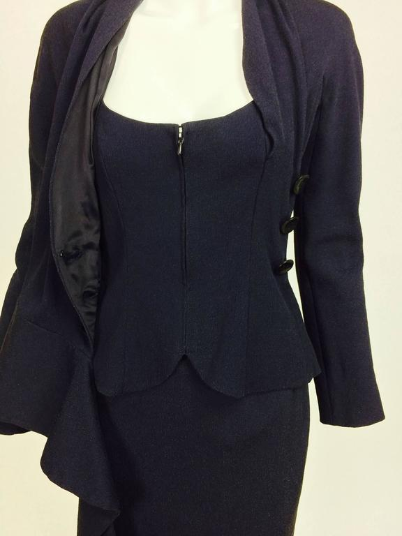 Vintage Christian Dior navy blue fitted suit with scarf side 1990s 8