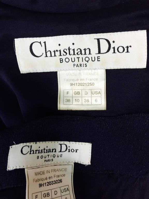 Vintage Christian Dior navy blue fitted suit with scarf side 1990s 10