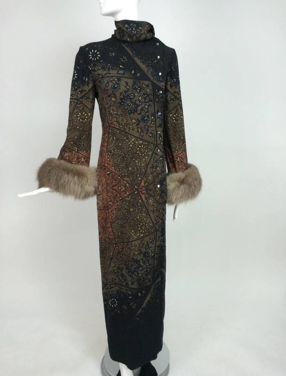 Vintage Pauline Trigere silk jacquard print fur trimmed maxi dress 1960s 3
