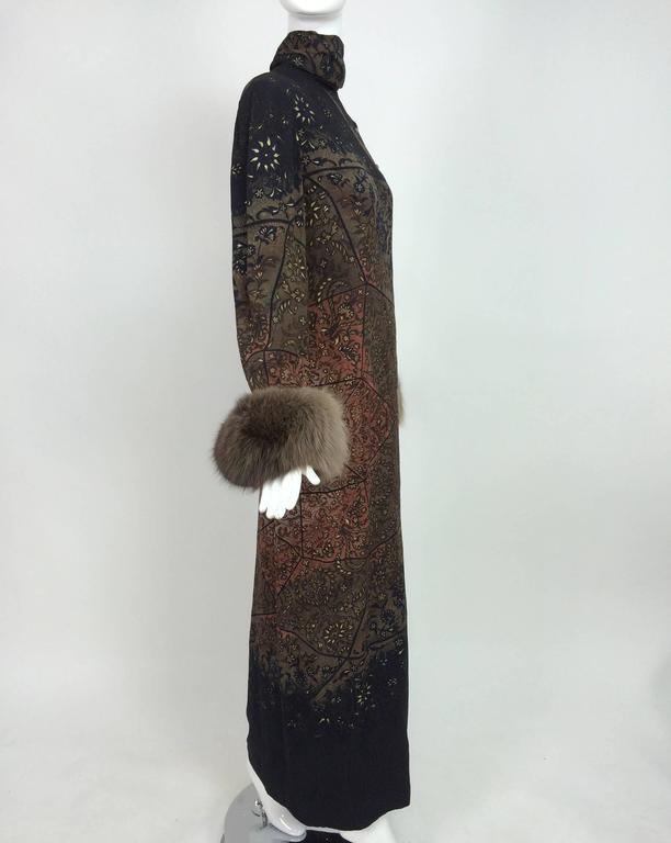 Vintage Pauline Trigere silk jacquard print fur trimmed maxi dress 1960s 5