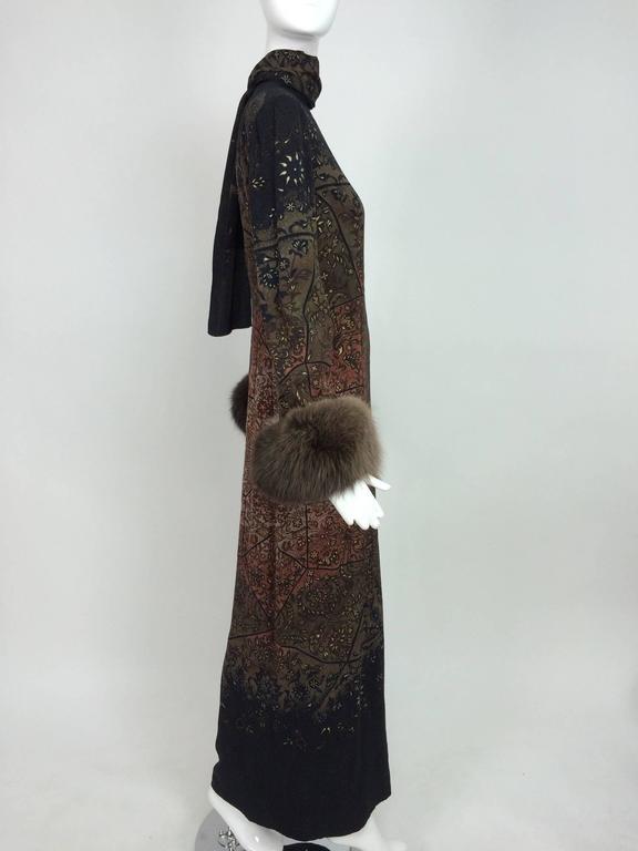 Vintage Pauline Trigere silk jacquard print fur trimmed maxi dress 1960s 6