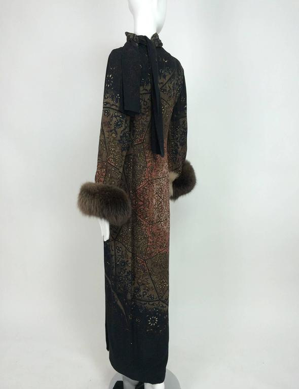 Vintage Pauline Trigere silk jacquard print fur trimmed maxi dress 1960s 8
