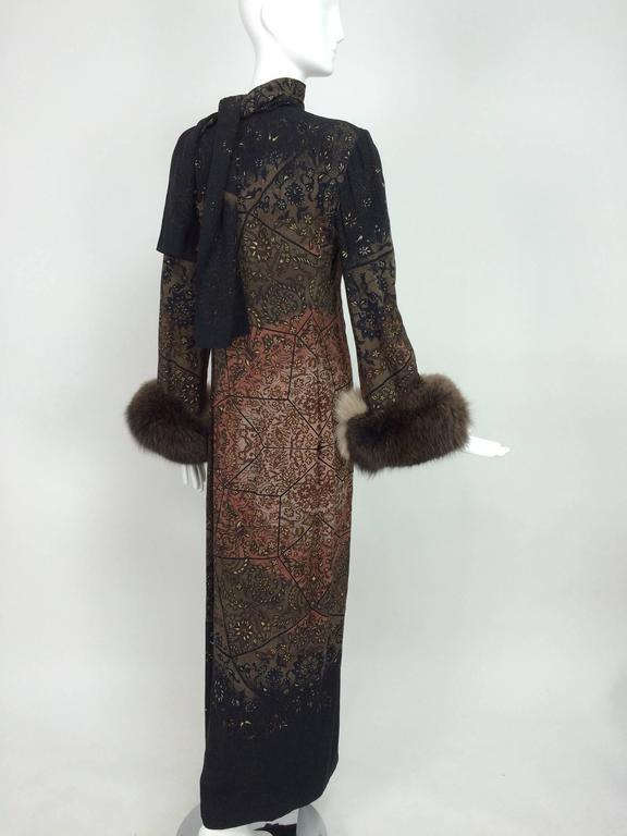 Vintage Pauline Trigere silk jacquard print fur trimmed maxi dress 1960s 7