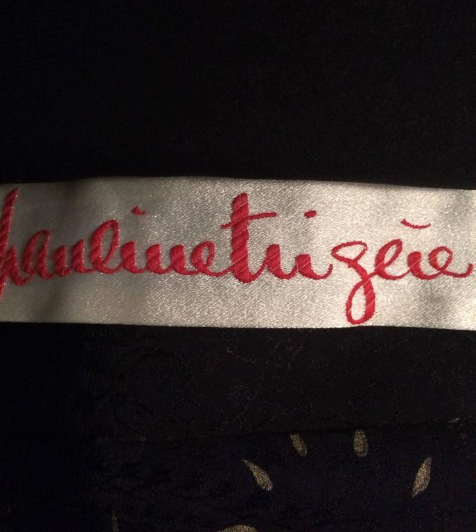 Vintage Pauline Trigere silk jacquard print fur trimmed maxi dress 1960s 10