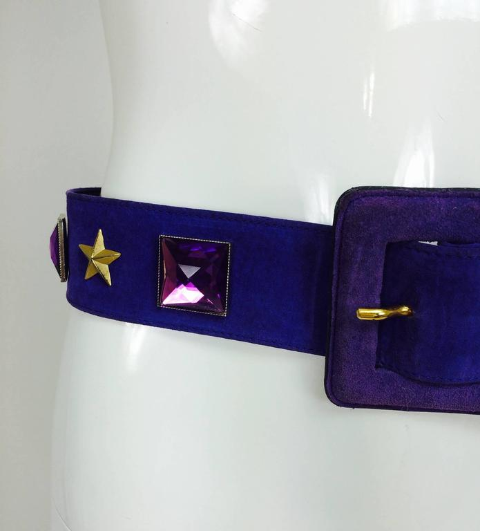 Vintage Yves St Laurent jeweled purple suede belt 1980s 2