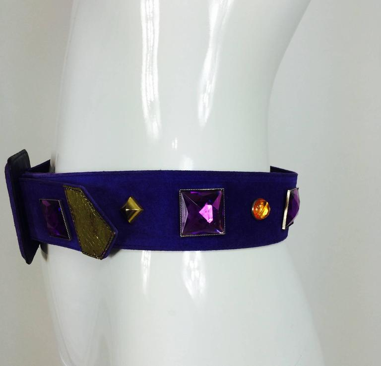 Vintage Yves St Laurent jeweled purple suede belt 1980s 4