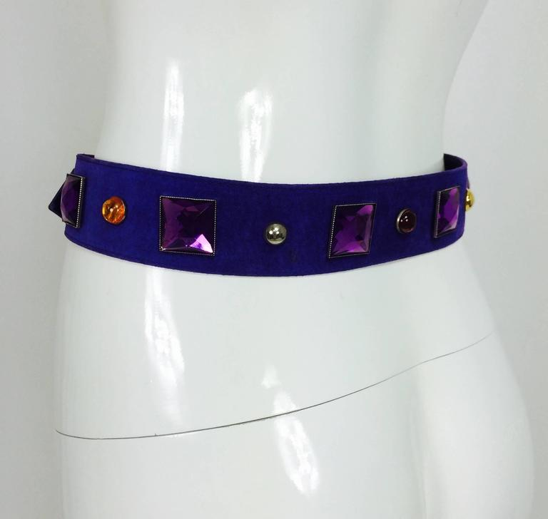 Vintage Yves St Laurent jeweled purple suede belt 1980s 5