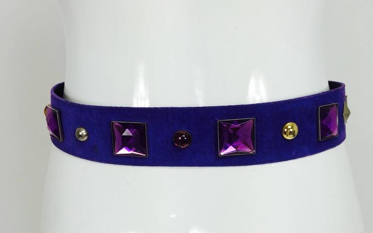 Vintage Yves St Laurent jeweled purple suede belt 1980s 6