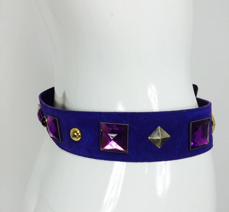 Vintage Yves St Laurent jeweled purple suede belt 1980s 7
