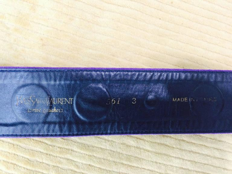 Vintage Yves St Laurent jeweled purple suede belt 1980s 8