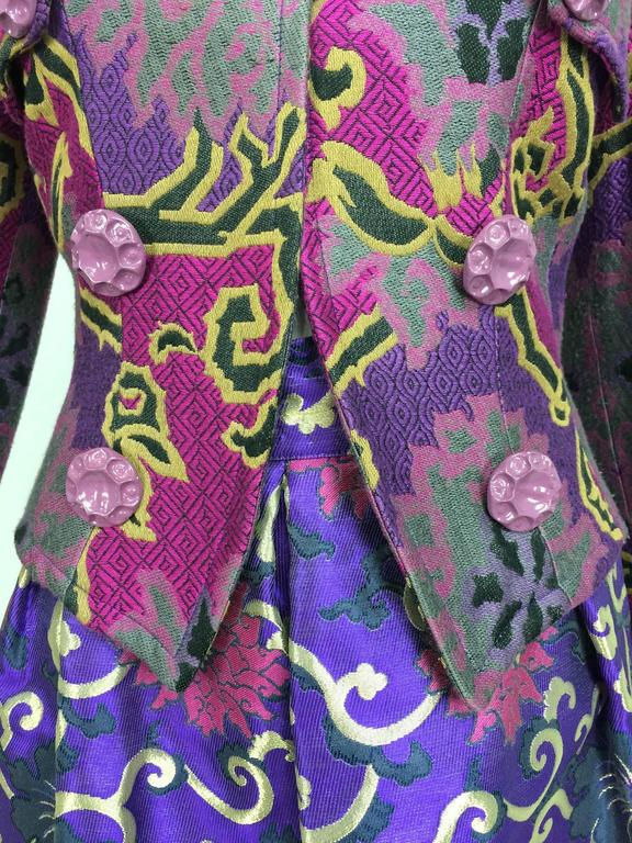Vintage Purple brocade jacket & coordinating satin brocade mini skirt 1990s 2