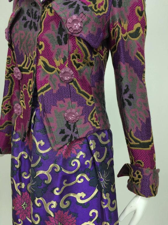Vintage Purple brocade jacket & coordinating satin brocade mini skirt 1990s 3