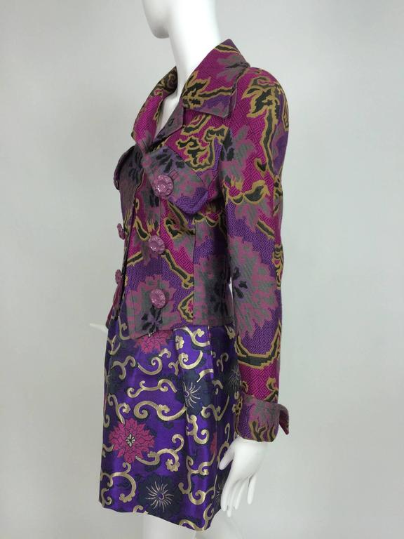 Vintage Purple brocade jacket & coordinating satin brocade mini skirt 1990s 4