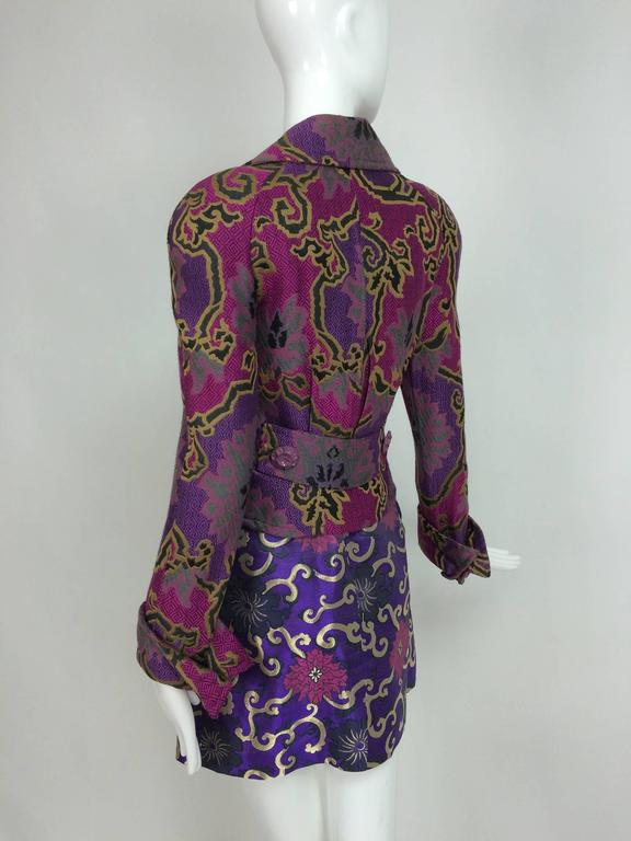 Vintage Purple brocade jacket & coordinating satin brocade mini skirt 1990s 5
