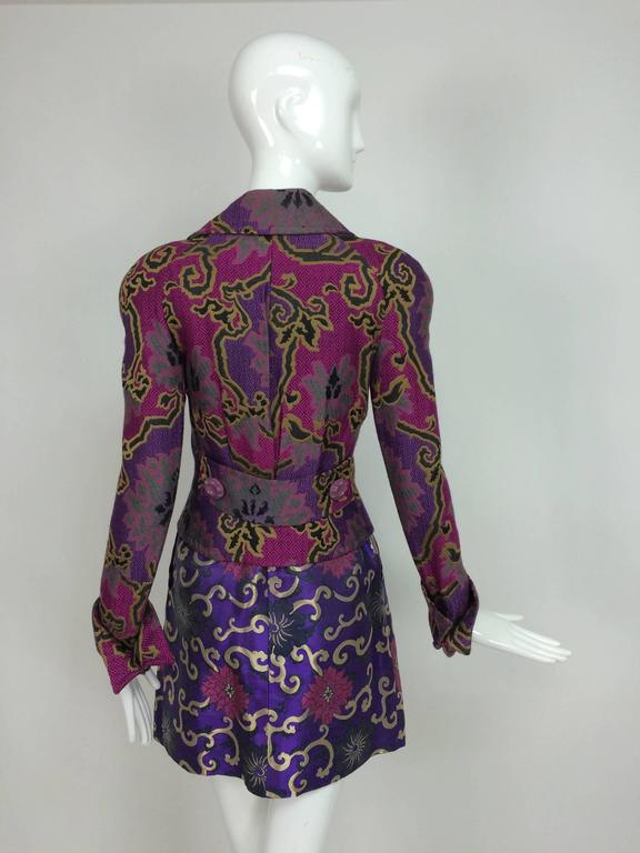 Vintage Purple brocade jacket & coordinating satin brocade mini skirt 1990s 6