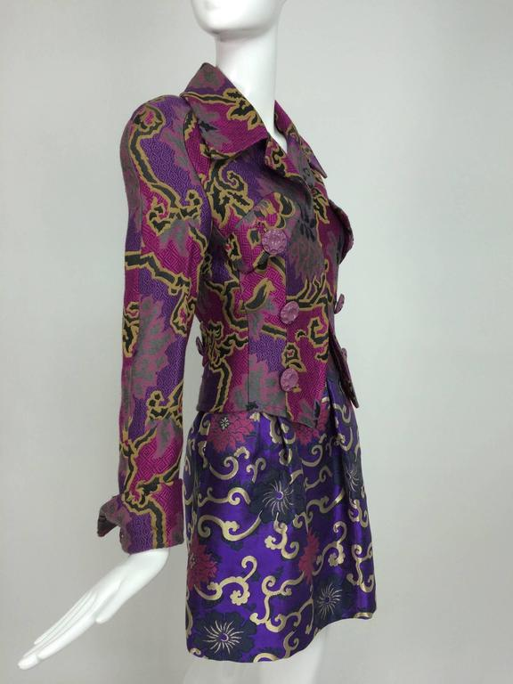 Vintage Purple brocade jacket & coordinating satin brocade mini skirt 1990s 8