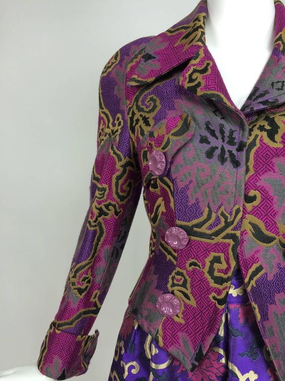 Vintage Purple brocade jacket & coordinating satin brocade mini skirt 1990s 9