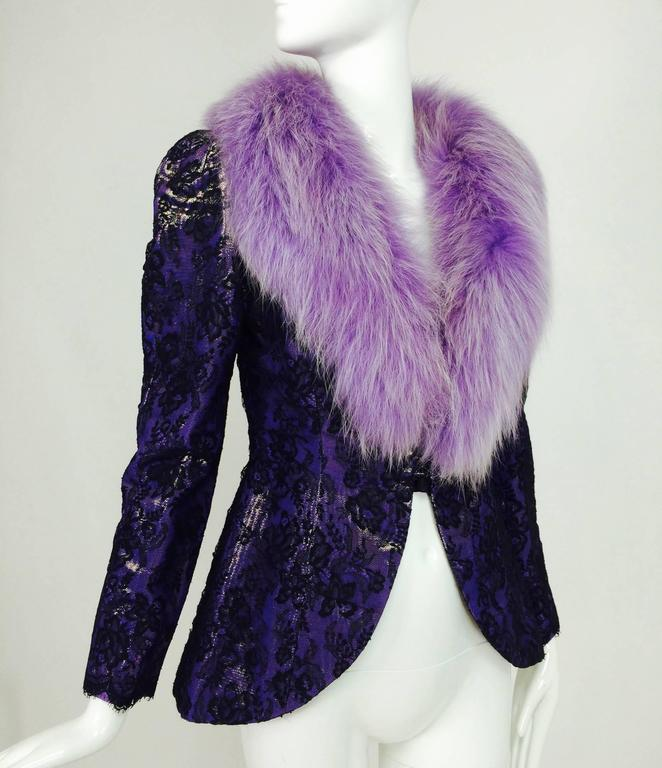 Vintage Adolfo purple metallic lame black lace jacket with fur collar 1980s 2