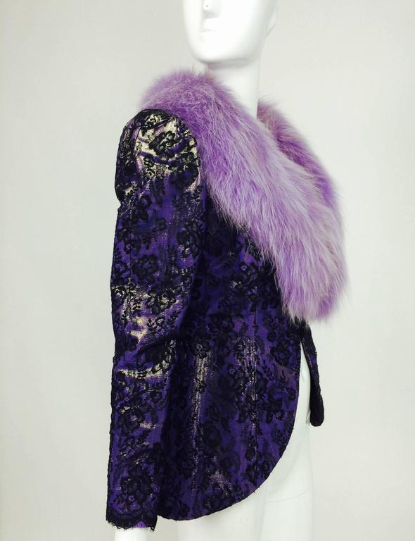 Vintage Adolfo purple metallic lame black lace jacket with fur collar 1980s 3