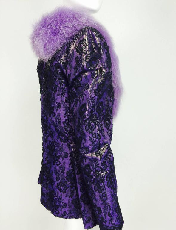 Vintage Adolfo purple metallic lame black lace jacket with fur collar 1980s 4