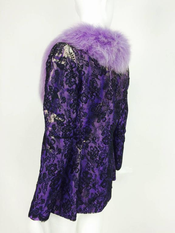 Vintage Adolfo purple metallic lame black lace jacket with fur collar 1980s 7
