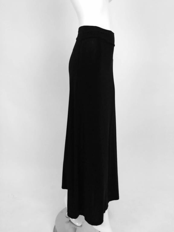 Vintage Issey Miyake silky black stretch fold over waist A line maxi skirt 1990s 2