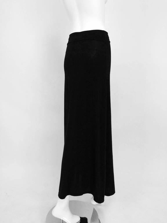 Vintage Issey Miyake silky black stretch fold over waist A line maxi skirt 1990s 3