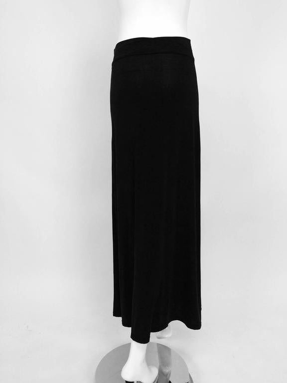 Vintage Issey Miyake silky black stretch fold over waist A line maxi skirt 1990s 4
