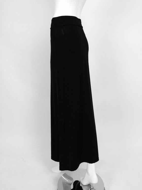 Vintage Issey Miyake silky black stretch fold over waist A line maxi skirt 1990s 5