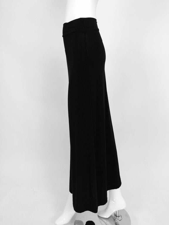 Vintage Issey Miyake silky black stretch fold over waist A line maxi skirt 1990s 6