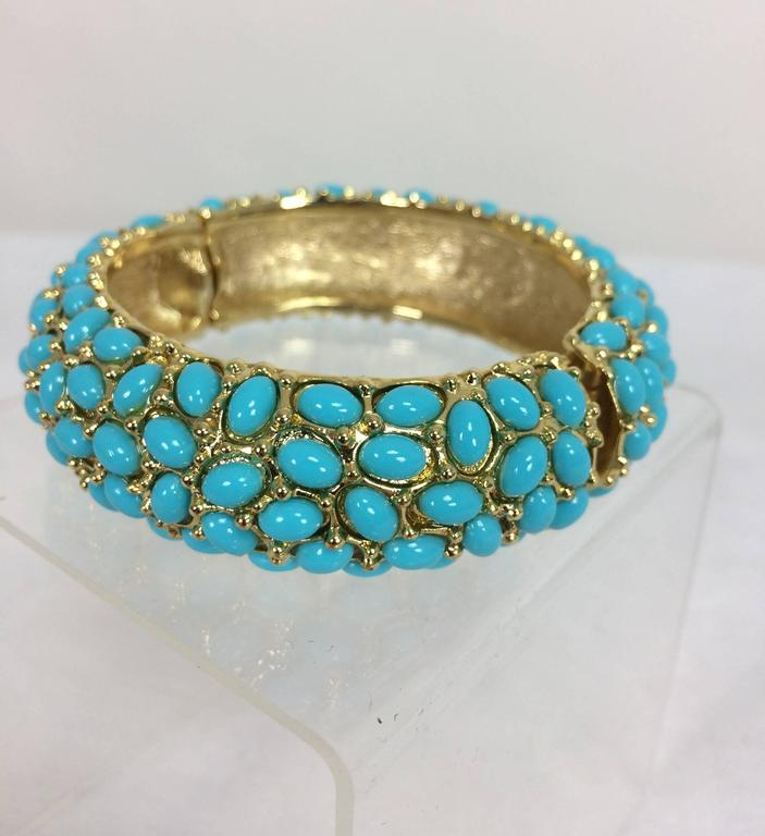 Kenneth Lane turquoise cabochon encrusted gold clamper bracelet In Excellent Condition For Sale In West Palm Beach, FL