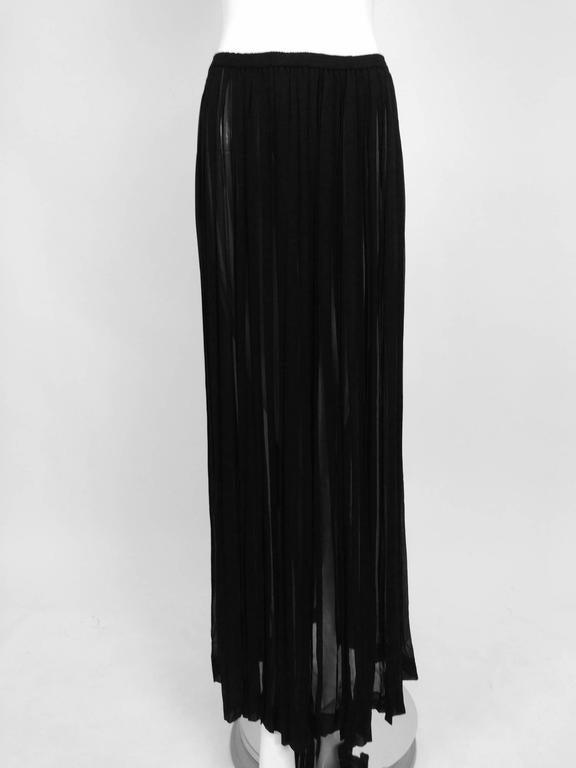 Black Vintage Yves St Laurent knife pleated sheer silk chiffon maxi skirt 1970s For Sale