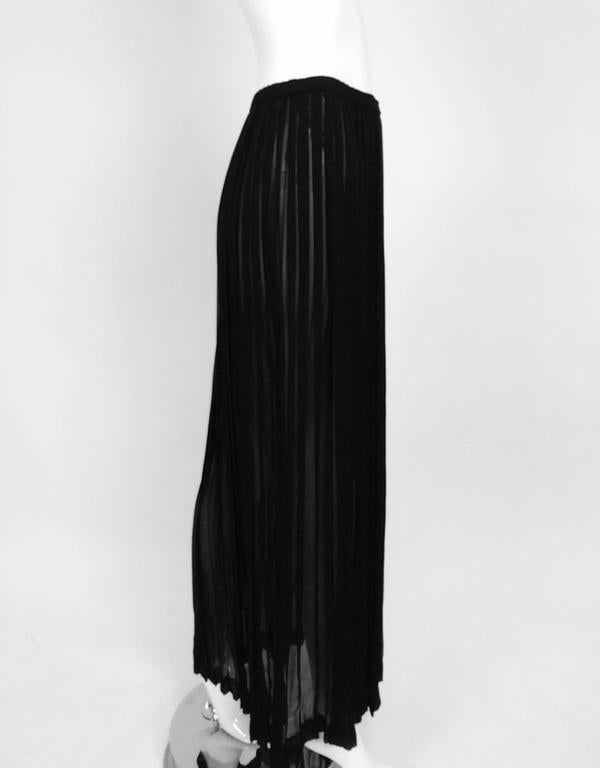 Vintage Yves St Laurent knife pleated sheer silk chiffon maxi skirt 1970s In Excellent Condition For Sale In West Palm Beach, FL